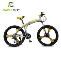 Wholesale Folding Racing Bike - Richbit New Aluminum Folding Bicycle 27 speeds Mountain Bike Dual Disc Brakes Variable Speeds Road Bike Racing Bicycle Gold