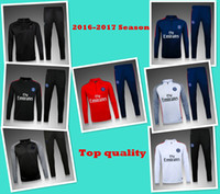 Wholesale Sets Sportswear - NEW 2016 2017 paris PSG tracksuits survetement football long sleeves tight PSG Football Sportswear Set skinny pants free shipping