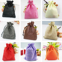Wholesale burlap fabric bags - New Drawstring burlap bags Gift Candy Favor Bags for Handmade Storage  Wedding Decor 200pcs lot IC873