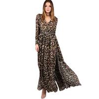 Wholesale Maxi Long Dress Leopard Print - Fashion Autumn Chiffon Long Dress Women Clothing Sexy Deep V Long Sleeve Leopard Print Streetwear Maxi Casual Dress Vestidos DG372