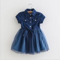 Wholesale Korean Summer Clothes Fashion Wholesale - Girls Denim Dress Kids Clothing 2017 Summer Lace Tutu Dress Korean Fashion Short Sleeve Princess Dress HX-481