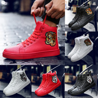 Wholesale Tiger Embroidery Fabric - High Top Shoes Genuine Leather Shoes Men Flats Gentlemen Luxury Wedding Party Tiger Head Embroidery Hip Hop Casual Sneakers