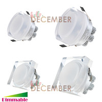 Wholesale led recessed crystal - New 9W 15W 21W Dimmable LED Crystal Ceiling Light Downlight Recessed Round   Square LED Ceiling Lamp