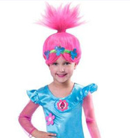 pelucas de los niños al por mayor-Chica trolls princesa reina de la nieve que teje trenza luz cosplay peluca niños trolls reina de la nieve pelucas largas regalo de los niños b