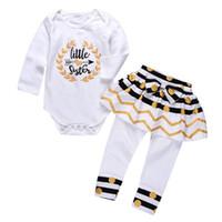büyük bebek pantolon toptan satış-Bebek Kız Giysileri Bahar Sonbahar Pamuk Uzun Kollu Bebek Bebek giyim Büyük Küçük Kardeş Çocuk Giyim Seti Romper + Pantolon Elbise 2 ADET Kıyafetler