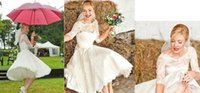 2015 White / Ivory 3/4 Sleeve Short Wedding Dress Jewel Lace Vintage Tea Length Bridal Gowns на складе горячая продажа