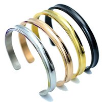 Wholesale hair tie set - New Hair Tie Open Bangles Bland Cuff Stainless Steel Brushed Edges for Women Girls Bracelet Bangle Hot Sale