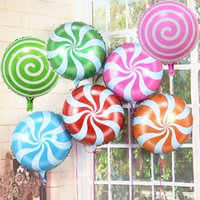 Wholesale Cartoon Windmill - 0 5rq 18 Inch Lollipop Aluminum Foil Balloon Toy Windmill Candy Balloons For Baby Birthday Party Supplies Decoration Airballoon Toys Cartoon