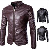 Wholesale Korean Cotton Lace Outerwear - 2017 New high-end self-cultivation motorcycle Men's Outerwear & Coats jacket Korean trend Men's Leather & Faux Leather Y666