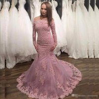 Wholesale maternity dresses for special occasions - 2017 Gorgeous Mermaid Pink Lace Appliques Prom Dress Off the Shoulder Beaded Long Sleeve Prom Gowns For Special Occasion Evening Dresses