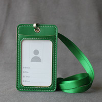 Wholesale Credit Card Holder Lanyard - Name Credit Card Holders Women Men PU Bank Card Neck Strap Card Bus ID holders candy colors Identity badge with lanyard Brand Cardholder