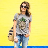 Wholesale Juniors Tees - Womens Summer Fashion Pineapple Printed Tops Funny Juniors T Shirt Short Sleeve Blouse Tees Blusa