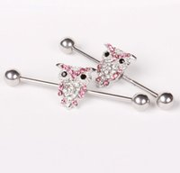 chirurgical en acier inoxydable hibou industriel perçage à barbell Ear Body Jewelry Long Bar tragus