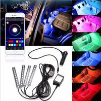 rgb led teléfono controlado al por mayor-4x 9LED RGB Interior del coche Decorativo Lámpara de la Atmósfera del Piso Luz de Tira Inteligente Inteligente Teléfono Inalámbrico APP Control de Control de Voz