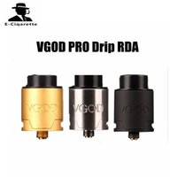 Wholesale Direct Drip Atomizer - VGOD PRO Drip RDA Atomizer 24mm Diameter Direct Bottom Draw Airflow E cigarette Atomizer Black SS Gold Color