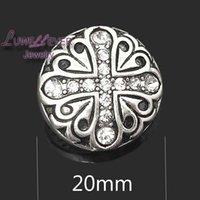 Wholesale Quality Cross Bracelet - High quality flower Cross W230 18mm 20mm rhinestone metal button for snap button Bracelet Necklace Jewelry For Women Silver jewelry