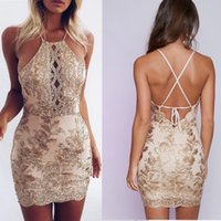 Wholesale Hot Sexy Mini Mixing Dress - European-style hot color sexy and four-wire lace sets of halter high waist package hip dress support mixed batch