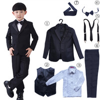 Wholesale Toddlers Wedding Shirts - 7 Pcs Infant Toddler & Boy Formal Blazer Children Tuxedo Ring Bearer Shirt Vest Wedding Party Suit Black Sz 2- 12