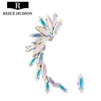 muy clip al por mayor-Caliente Nueva moda de alto grado muy Shine Colorful Crystal Ear Cuff Clip Pendientes para las mujeres