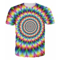 Wholesale Womens Summer Shorts Colorful - 2017 New Arrive 3d Fashion Clothing Womens Mens Tees Into The Rainbow T-Shirt Psychedelic Colorful T Shirt Summer Style Camisetas AA190