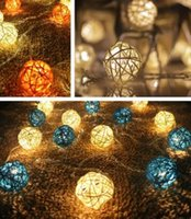 Wholesale One Earth - 5 CM Vine Cany Ball LED Colorful String Lights With Charge Connector Romantic Wedding Decorations 20 In One Set Wedding Supplies