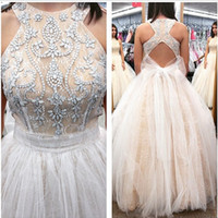 Wholesale Prom Dress Tulles Ball Gown - Elegant 2017 Champagne Princess Prom Ball Gowns Scoop Crystal Lace Sexy Evening Gowns Puffy Romantic Tulles Backless Pageant Dress With Bow