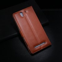 Wholesale Leather Cases For Xperia J - For Sony C3 Leather Case High Quality J Wallet Case For Sony Xperia C3 D2533 D2502 S55T S55U Flip Cover with Stand