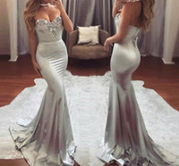 Wholesale sleeveless lace long prom dress resale online - 2018 New Sweetheart Silver Mermaid Prom Dresses Long Lace Appliqued Sleeveless Backless Evening Gowns Formal Party Wear BA6763