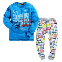 Wholesale Pyjama Boys Cars - Wholesale- 2-7Y boys winter pajamas fleece lining thicken warmly 2 pieces children winter clothing set car print kids boys casual pyjamas