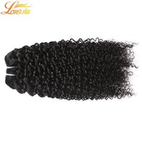 Wholesale wavy permed hair online - 7a Grade Unprocessed Human Hair Bundles Brazilian Deep Curly Human Hair Double Weft Human Hair Deep Wave Wavy Natural color B