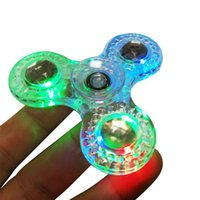 Wholesale Diamond Big - Diamond Crystal Jelly LED Fidget Spinner with CE Mark Clear Transparent Tri-Spinner EDC Hand Spinner Ant-stress Fidget Spinners Toys