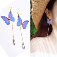 Mode Femme Handmade Bohemia Butterfly Vintage Long Tassel Boho Boucles d'oreilles pendentif en cristal Gold Color Long Chain Dangle Earring JEC0059