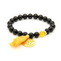 großer schwarzer onyx großhandel-Neue Design Valentine Großhandel 8mm Schwarz Onyx Stein Perlen Quaste Stretch Perlen Yoga Big Om Paar Armband