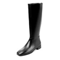 Wholesale High Boots Heels Thigh Zipper - cow leather European designer zipper low heels keep warm riding boots streetwear fashion nude thigh high boots