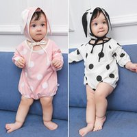 2017 Ins Infant Baby Rompers с капюшоном Kids Girls Dots Cotton Onesies Jumper Bunny Ears Hat 2pcs Наряды для девочек Set 13485