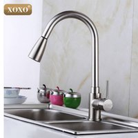 Wholesale Brushed Nickel Pull Out Faucets - Wholesale- XOXO Deluxe Pull out Spray Kitchen Faucet Mixer Tap,Pullout Sprayer Kitchen Faucet SATIN NICKEL BRUSHED brass material 83011S