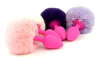 anal sex toy queue de lapin achat en gros de-Queue de lapin de silicone de taille moyenne Plug anal lapin Butt Plug Silicone perles de butin Anal Gode Sex Toys Anal Produits de sexe