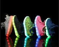 Wholesale Shoes Usb Grey - Wholesale LED Flash Shoes 7 Color USB charging Boost 350 Sneakers Casual Shoes for Mens and Womens shoe Footwear Free Shipping