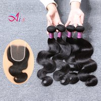 Wholesale Tangle Free Weave Cheap - Cheap Brazilian Body Wave 4Bundles Hair Weaves Natural 1B with a 4X4 Middle Free Part Lace Closure Human Hair for Halloween Day Tangle Free