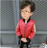 Wholesale Wholesale Kids Baseball Jackets - Boys jackets fashion Kids wings embroidery zip up coats children stand collar baseball leather outwear 2017 new Autumn boys clothes G0950