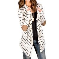vestes asymétriques achat en gros de-Gros-2016 Femmes Cardigan Rayé Long Cardigans Poncho Sans Col À Manches Longues Asymétrique Irrégulière Occasionnel Shrug Coats Veste
