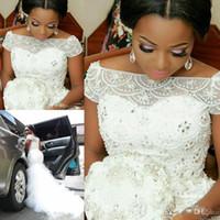 boné de casamento árabe venda por atacado-Charme Plus Size Árabe Nigeriano Sereia Vestidos de Casamento Beading Cap Manga Tulle Ruffles Sereia Vestidos de Noiva