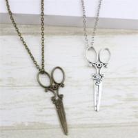 ingrosso vendita calda forbici-Vendita calda gioielli vintage scissor pendente collane in bronzo colore argento lungo maglione collane per le donne regalo