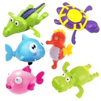 Baby Bath Toy kids Wind up Jouets dessins animés Tortue hippopotame Requin Crocodile Hippocampus Animaux Jouets de natation pour enfants C2416