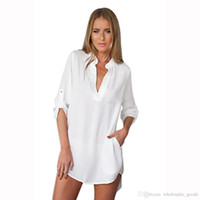 Wholesale Oversize Top Womens - Top Blouse Womens Casual Long Sleeve V-Neck Oversize Loose Chiffon T Shirt Dress Dresses For Fomens Dresses For Womens