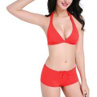 Wholesale Cheap Triangle Swimsuit - 2017 New Red Triangle Bikini Set Two Piece Deep V Swimwear Women Sexy Bathing Suit Cheap Swimsuit Wholesale