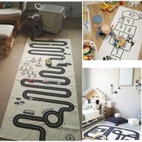 Embroidered black and white mats - 3styles New Baby Games Play Mats Cotton Games Carpet Room Decoration Children Bedding Toy Kids Gift Racing Adventure Number Carpets