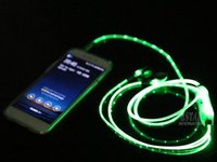 Wholesale El Wire Light Green - LED Light UP Lighting Earphone Visible EL Flowing Glow Flash In ear Light Earphone Headphone With Mic For iphone7 6 6S Samsung