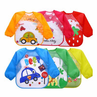 Wholesale Long Sleeve Smock - Wholesale Cute Cartoon Baby Bibs Long Sleeve Art Apron Animal Smock Children Bib Burp Clothes Soft Feeding Eat Toddler Waterproof Baberos
