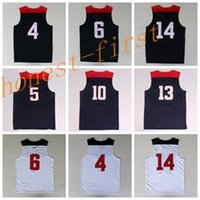 Wholesale Men Shirts Navy - 2014 USA Basketball Jerseys Dream Team American Shirts Uniforms #4 #5 #6 #10 #13 #14 #10 With Player Name Team Logo Navy Blue Best Quality